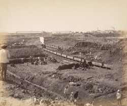 View of excavation from communication passage looking towards S.W. [Victoria Dock construction, Bombay].